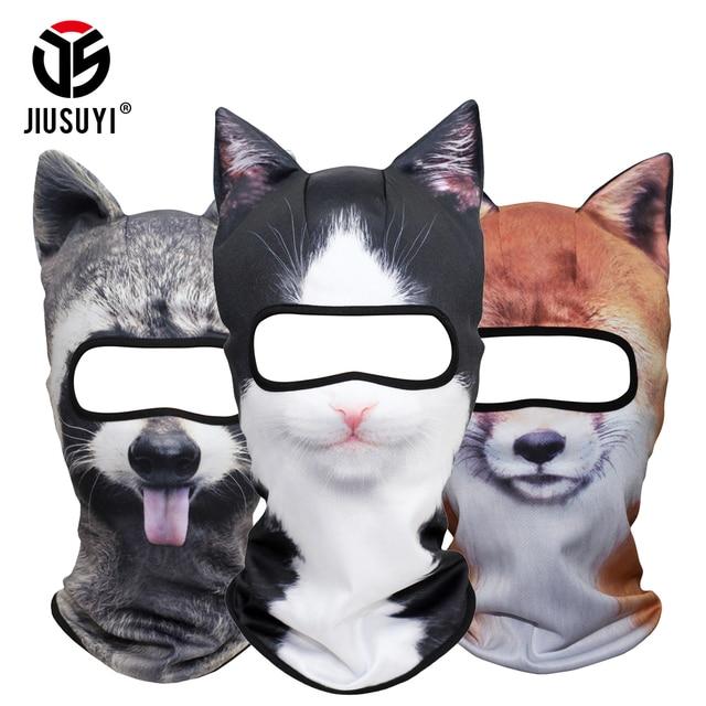 Lustige 3D Tier Ohren Balaclava Schädel Mützen Atmungsaktive Katze Hund Panda Fuchs Husky Volle Schild Kappe Hut Männer Frauen Gesicht maske Schutz