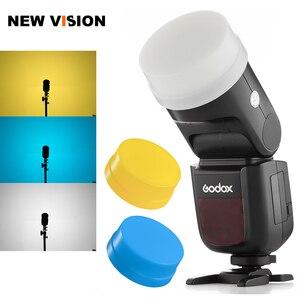 Image 1 - Godox V1 V1 C V1 N V1 S V1 F V1 O V1 P Flash Speedlite Blanc Bleu Jaune Diffuseur Doux Boîte