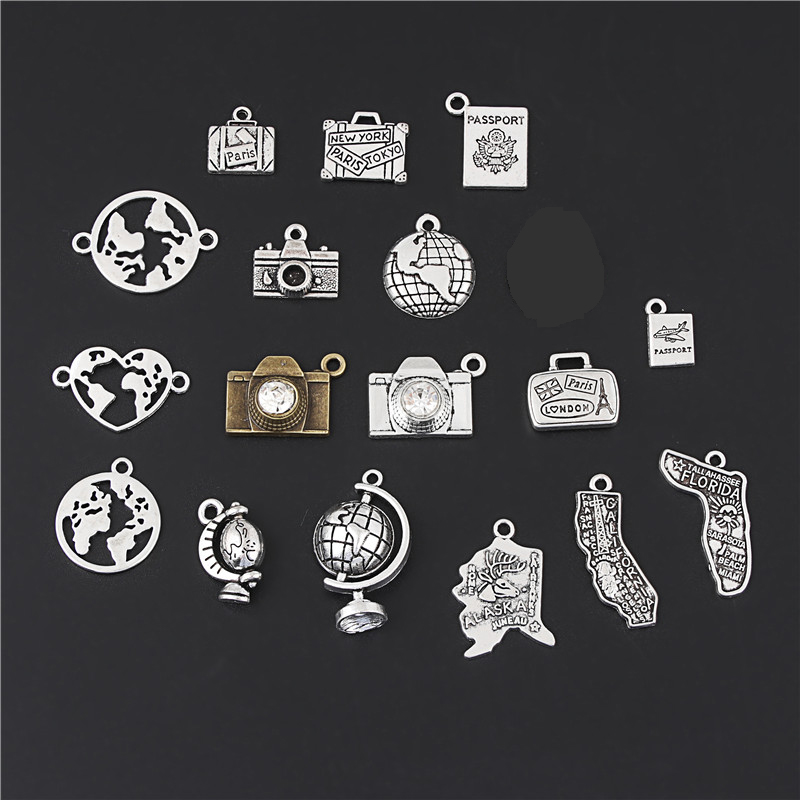 17pcs Mix Silver Color/Bronze Earth Globes Of The World Camera Charm CALIFORNIA State Map Pendant DIY Handmade Gift M107(China)
