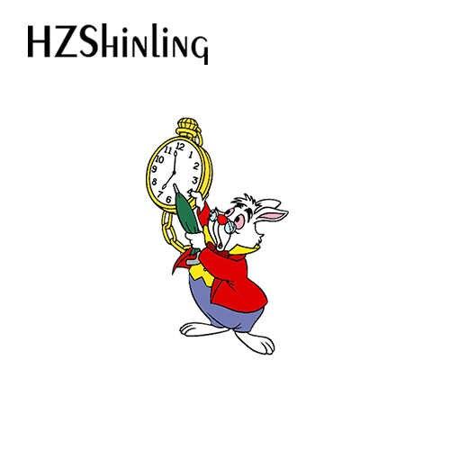 2019 ใหม่มาถึงอีพ็อกซี่อะคริลิคเข็มกลัด Alice in Wonderland อะคริลิค Badge PIN Alice และแมวนาฬิกากระต่ายอะคริลิคเข็มกลัด