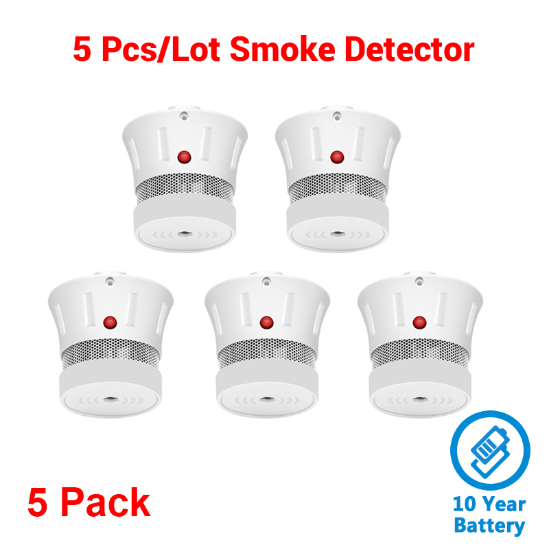 CPVan 5pcs/Lot Smoke Detector Fire Protection CE Certified EN14604 Listed 10 Years Battery Life Home Security Sensor Detector