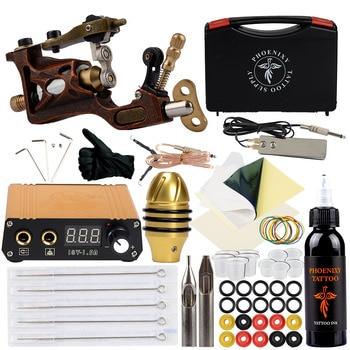 Professional Tattoo Kit Rotary Tattoo Machine Gun LCD Power Supply Grip Complete Tools Body Art Tools Box 30ml Inks Tattoo Set