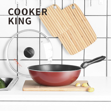 COOKER KING Nonstick Wok Deep Skillet Stir-Fry Wokpan With Lid Suitable For All Stove Including Induction PFOA Free 32cm