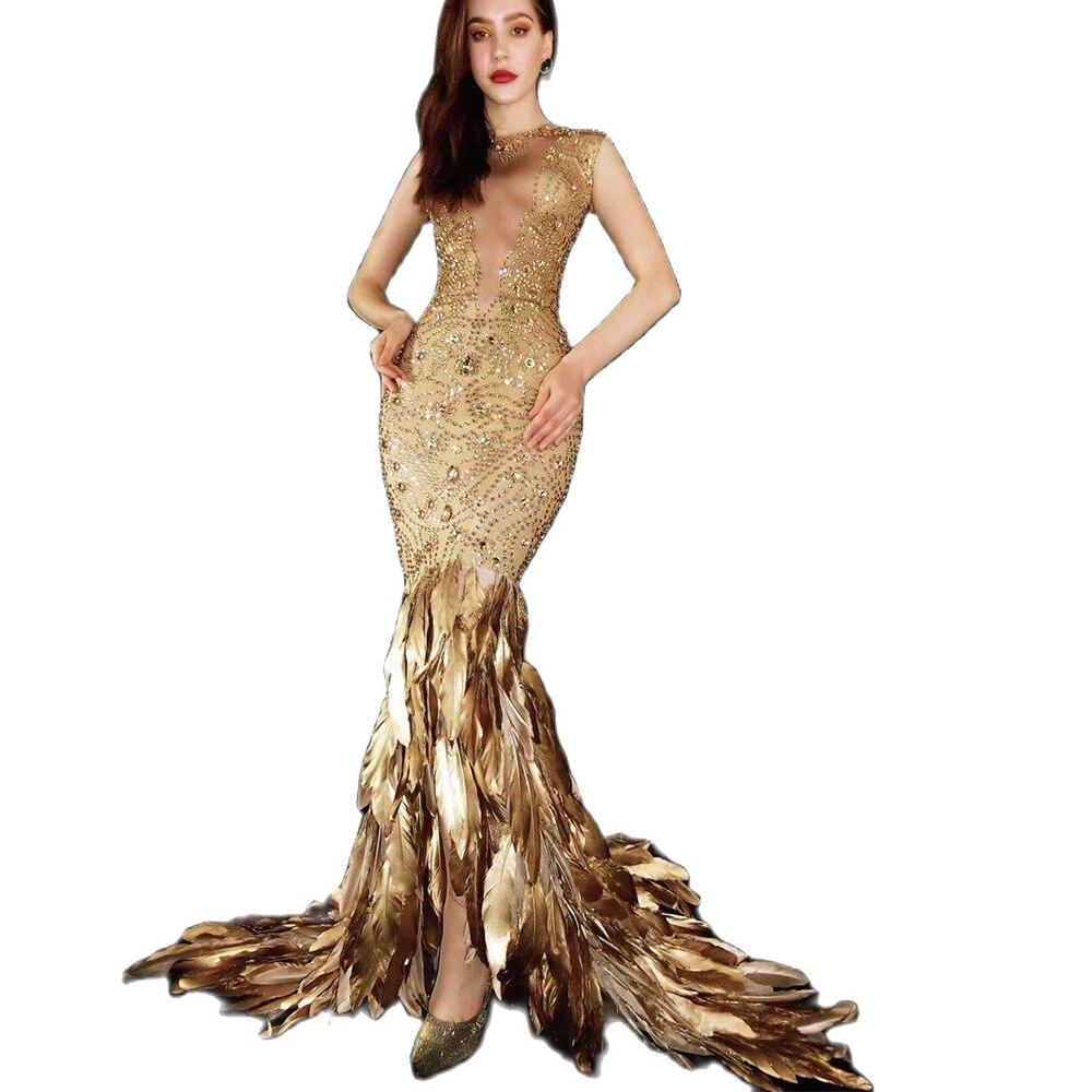 Gold Feder Engen Boden Länge Kleid Glänzende Diamanten Nachtclub Bar Party  Geburtstag Party Kleid Bühne Tragen Dame Bühne Kostüm