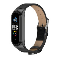 Correa de cuero para Xiaomi Mi Band 5 y 6, pulsera de silicona para reloj inteligente Mi Band 5, 4 y 3, NFC, versión Global