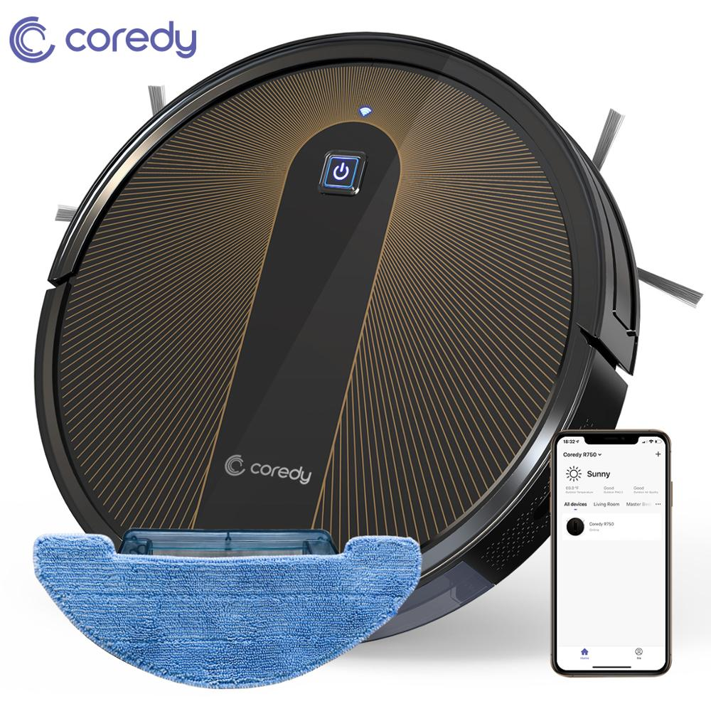 Coredy R750 Robot Vacuum Cleaner Clearance Smart Dry Wet Mopping Disinfection Floor Carpet Auto Charge Home With Google Wifi APP