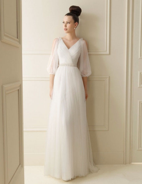 Free Shipping Maxi Dress 2015 Ivory Handmade V-neck Long Sleeve Elegant Crystal Beaded White Long Bridal Gown Bridesmaid Dresses