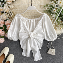 Sexy Short Crop Top Woman Puff Sleeve Strap Bow Blouse Blusas Mujer De Moda 2020 Ladies Short Shirt White Black