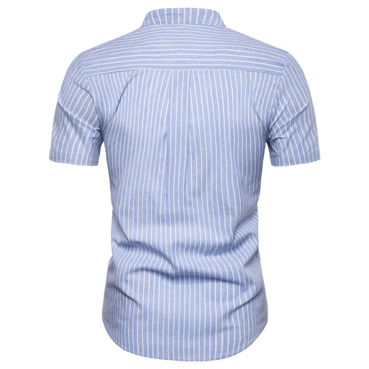 Blue Man Shirt Cotton Spring Autumn Casual Short Sleeve Shirts
