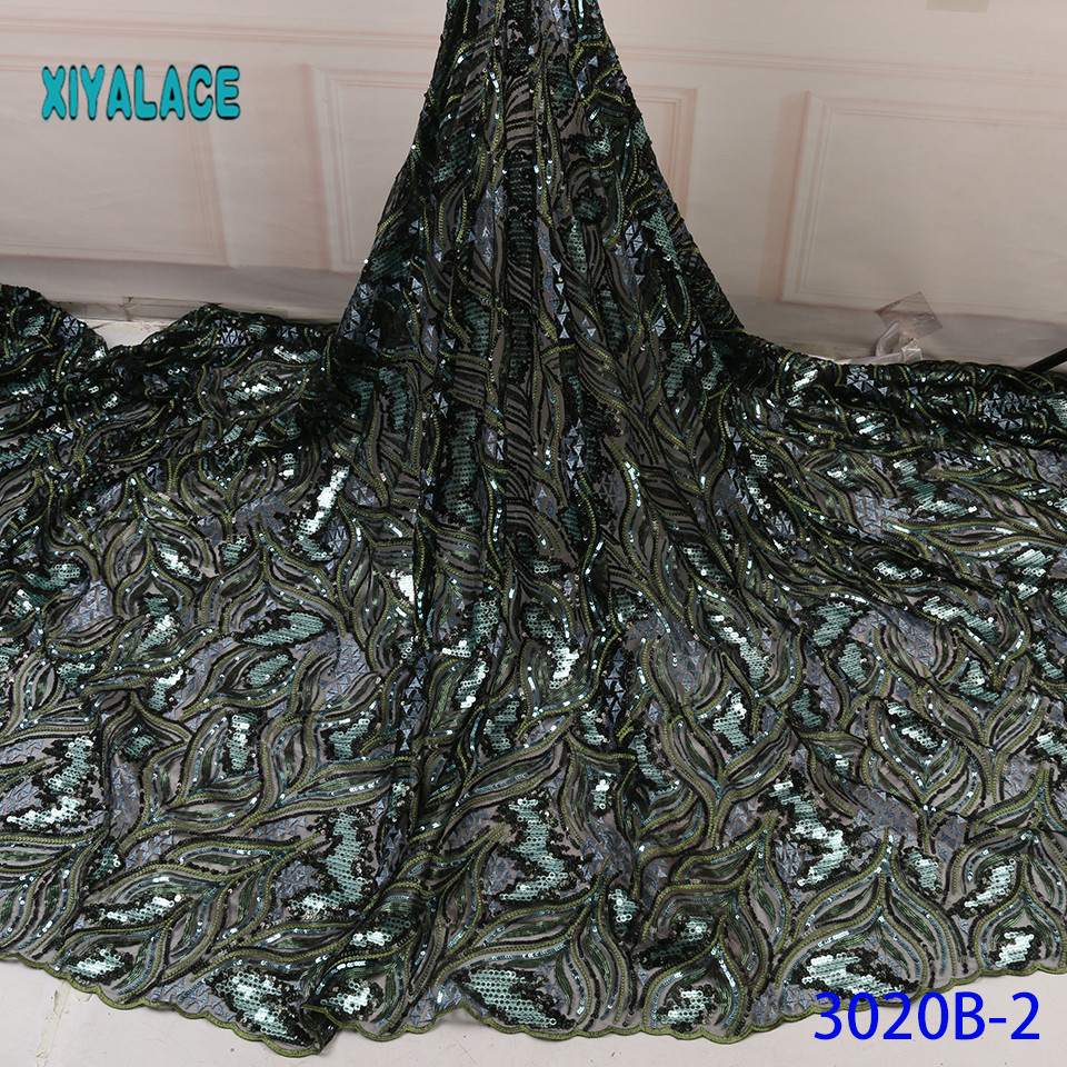 The Net Lace Fabric Design With Sequins For Party African Lace Fabric Latest French Sequins Green Lace Fabric YA3020B-2