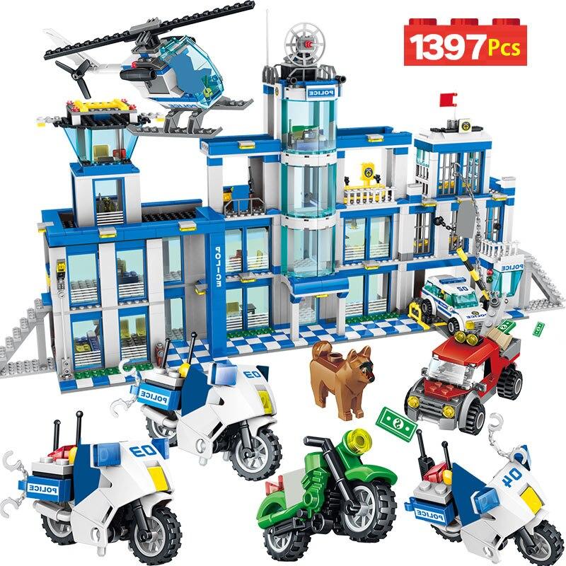 مكافحة الإرهاب عمل نموذج بناء كتل مدينة الشرطة محطة مكتب شاحنة سلسلة مجموعة متوافق الشرطة لعب للأطفال-في حواجز من الألعاب والهوايات على  مجموعة 1