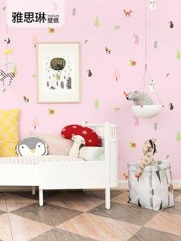 High quality Korean cartoon animal children's room wallpaper boy girl room princess pink girl bedroom wall paper Nordic style цена 2017