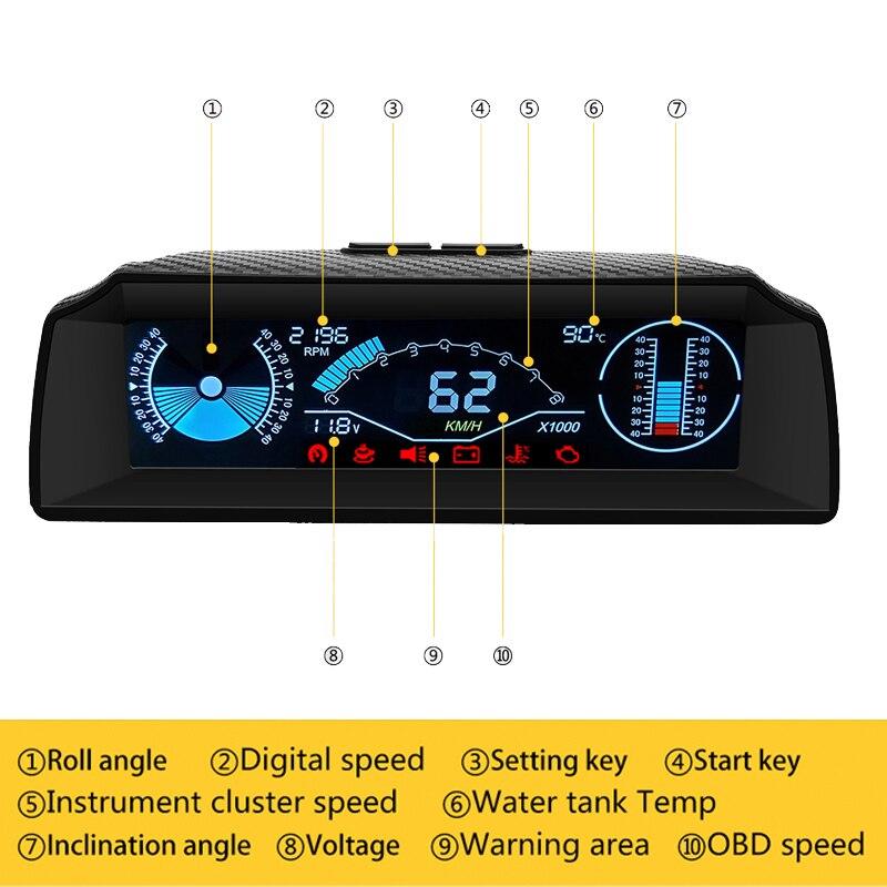 Ordinateur de bord Obd2 tête haute affichage Hud Obd2 voiture compteur de vitesse pente compteur Code clair inclinomètre boussole voiture électronique