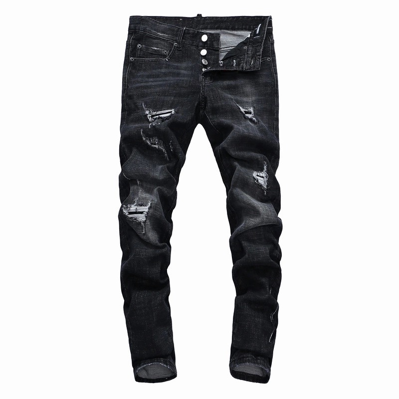 Jeans Men Skinny Stretch Washed Casual Solid Black 2018 Spring Summer Men Denim Jeans Slim Retro Straight Male Quality