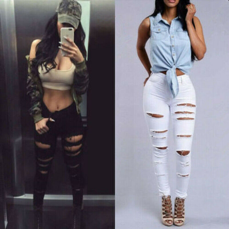 NEW Womens Elastic Destroyed Hole Long Pants Denim Skinny Holes Pants Pencil Pants High Waist Ripped Jeans Stretchy Ripped