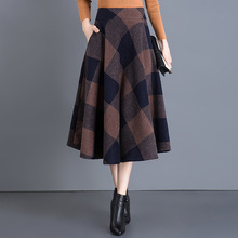Vintage Plaid Skirt Women Autumn Winter New England Style High Waist Woolen Knee-length A Line Midi Elegant OL