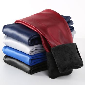 Dziewczęce legginsy na zimę dla dzieci grube aksamitne legginsy ołówkowe spodnie dla dzieci ciepłe spodnie Faux PU skórzane Legging Slim skórzana tanie i dobre opinie NNJXD Poliester Wiskoza CN (pochodzenie) Proste Dziewczyny NONE Pełnej długości Pasuje prawda na wymiar weź swój normalny rozmiar