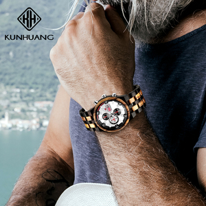 Image 5 - 木製男性クォーツ時計メンズ時計スポーツウォッチビジネス木製腕時計男性レロジオのmasculino高級時計メンズビッグクロノグラフ時計