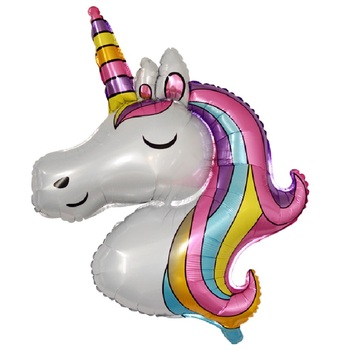 110x80cm large unicorn balloon horse foil children's birthday wedding decoration - discount item  29% OFF Festive & Party Supplies
