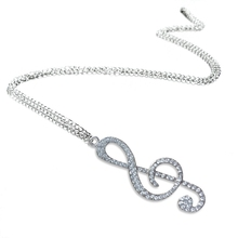 Crystal Chain Necklace Pendant Treble Clef Music Note Long Necklace for women Silver chic style silver plated rhinestone music note pendant necklace for men