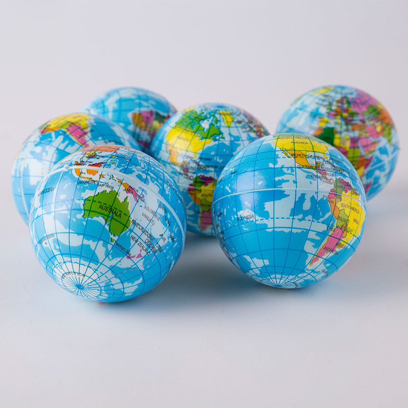 1PCS 76mm Anti Stress Relief World Map Foam Ball Atlas Globe Palm Ball Planet Earth Ball Toys For Chrildren Girls Boys