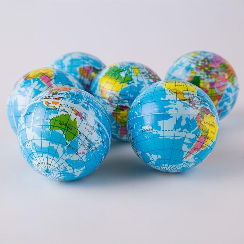 1PCS 76mm Anti Stress Relief World Map Foam Ball Atlas Globe Palm Ball Planet Earth Ball Toys For Chrildren Girls Boys