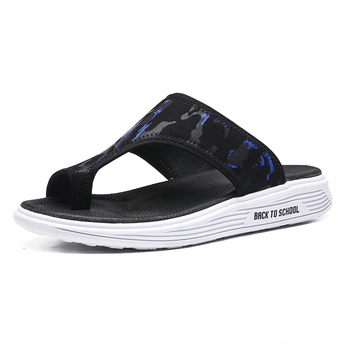 Mens Shoes Genuine Leather Slippers Handmade Male Comfortable Casual Summer Shoes Beach Flats Flip Flops For Men tanie i dobre opinie MINUSIKE Poza Płótno RUBBER Mieszkanie (≤1cm) Pasuje prawda na wymiar weź swój normalny rozmiar Slajdy Szycia Lato