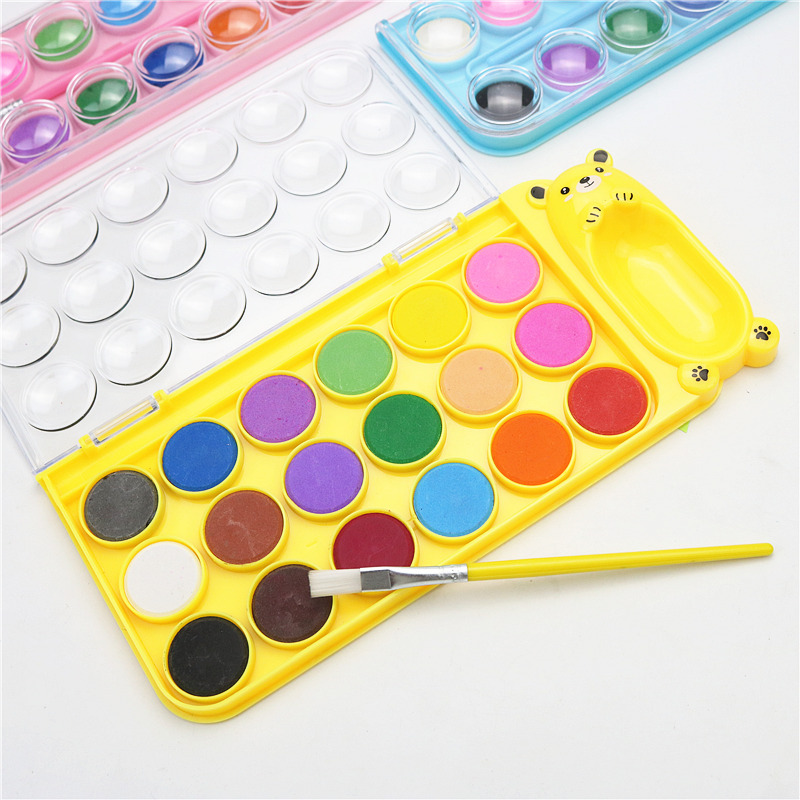 Children's Beginner Solid Watercolor Paint 12 18 Colors Set Drawing Practice Drawing Coloring Tool Kid's Colored Pen