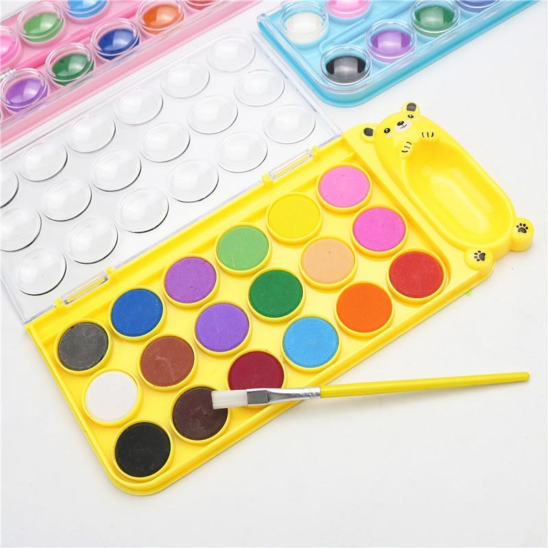 Детский набор для рисования, для начинающих, однотонная Акварельная краска, 12, 18 цветов, учебный инструмент для рисования, Детская цветная р...