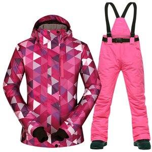 Image 1 - Kombinezon narciarski zestaw damski wiatroszczelna wodoodporna ciepła kurtka narciarska spodnie narciarskie odzież zimowa narciarstwo i kombinezony snowboardowe marki