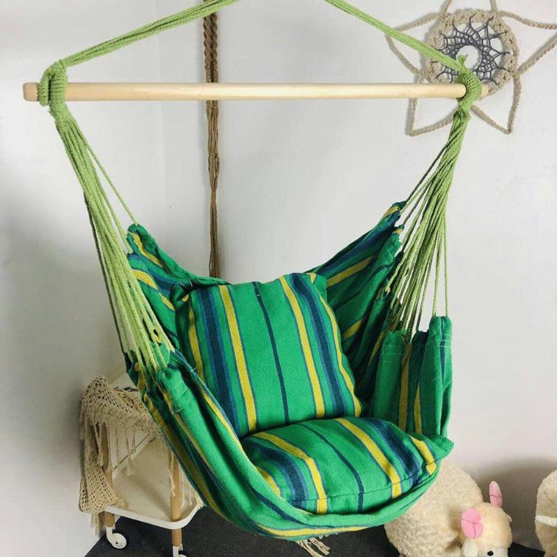 Garden Swing Chair Hammock Hanging Rope Chair Hanging Chair Seat With 2 Pillows For Indoor Outdoor Sleeping Bag