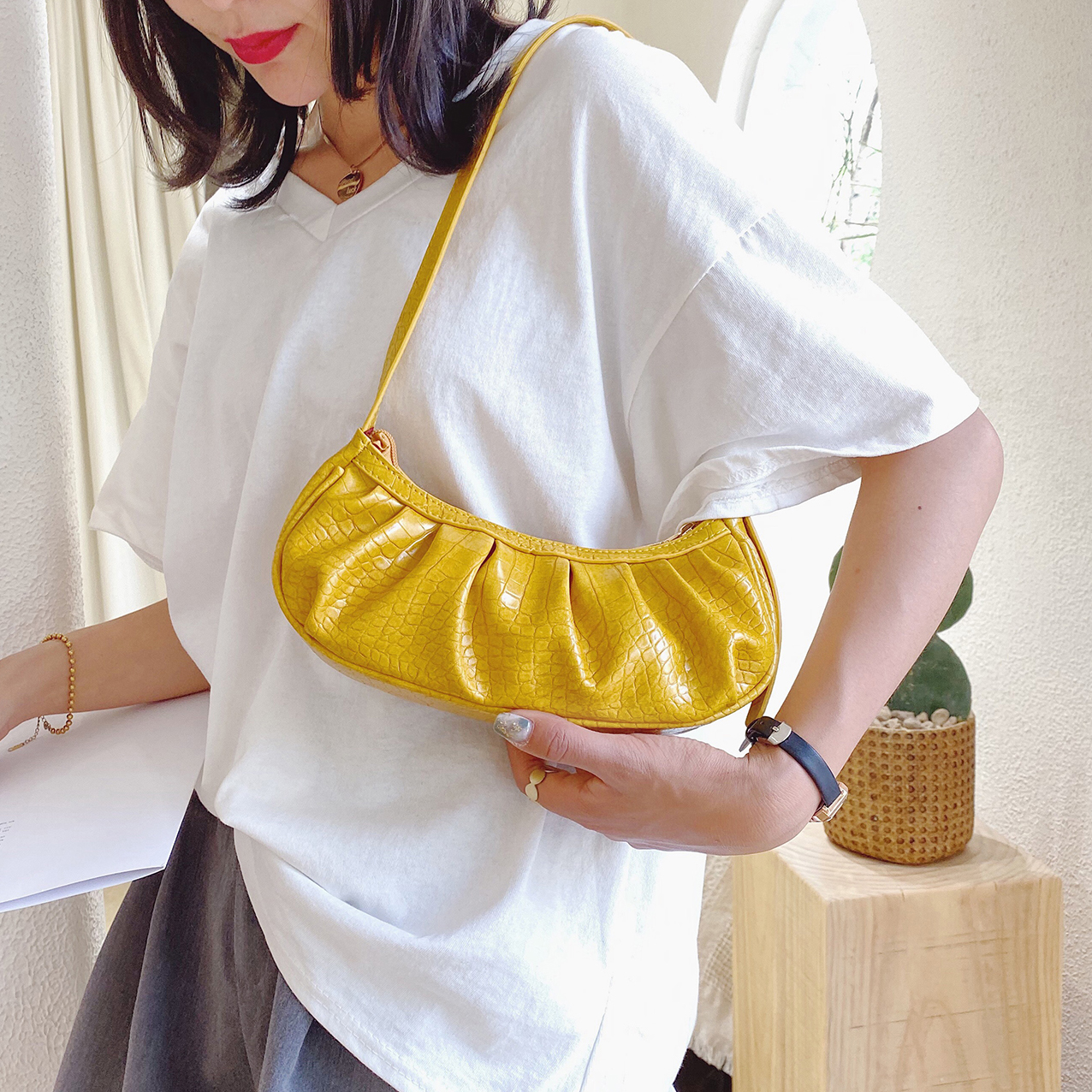 Folds Design Small PU Leather Shoulder Bags For Women 2020 Summer Handbags Female Travel Solid Color Fashion Hand Bag