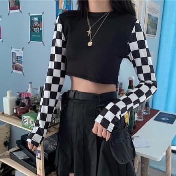 Harajuku Checkered Shirt Women's Clothing & Accessories Tops & Tees T-Shirts cb5feb1b7314637725a2e7: Black