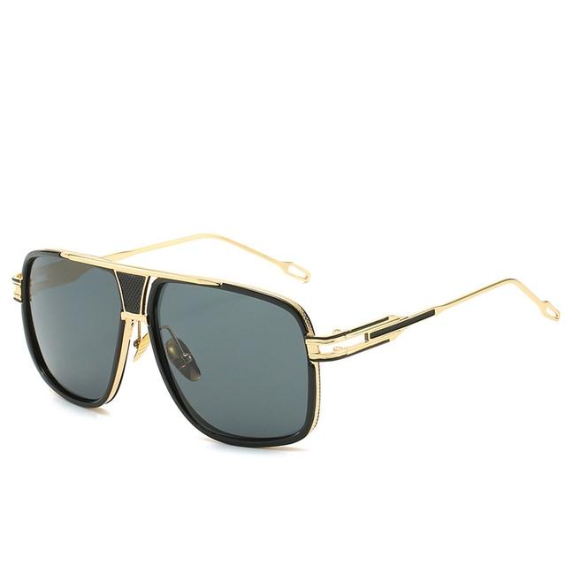 Gafas De Sol con gradiente De Metal para hombre y mujer, anteojos De Sol con montura cuadrada, De marca De diseñador, Estilo vintage, en color negro De talla grande 2