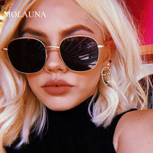 MOLAUNA Sunglasses Women Round Brand Designer Luxury Sun Glasses For Women Alloy Mirror Retro Female Glasses Oculos De Sol UV400 molauna round sunglasses women brand designer retro sun glasses for women fashion mirror shades female glasses oculos de sol