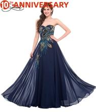 Vestido de noche con diseño bordado de pavo real Vintage de OLLYMURS, vestido de gasa de barco adecuado para fiesta de noche de graduación Formal, ocasión