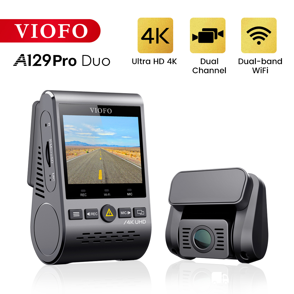 4K DVR Dual Dash Cam VIOFO A129 Pro Duo 3840*2160P Ultra HD 4K Dash Camera Front and Rear WiFi Sony 8MP Sensor GPS G-sensor