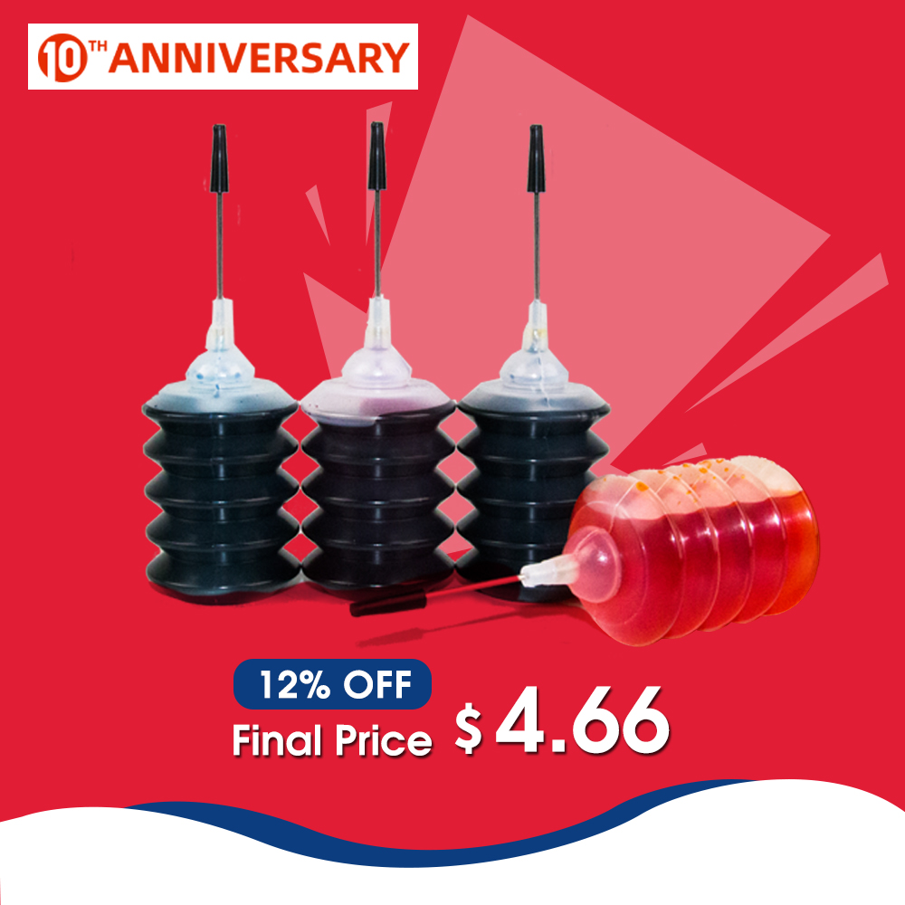 30ml Refill Dye Ink Kit Compatible For HP 302 301 INK Cartridge For Deskjet 2130 2135 1110 3630 3632 Officejet 3830 3834 4650