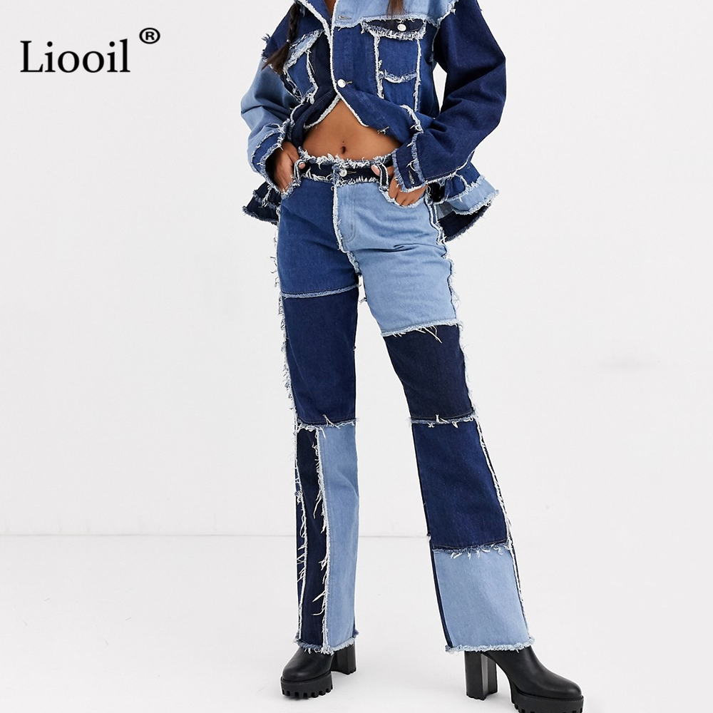 Liooil Patchwork Skinny Straight Leg Jeans Woman High Waist With Pockets Sexy Color Block Ladies Jeans Trousers Denim Blue Pants
