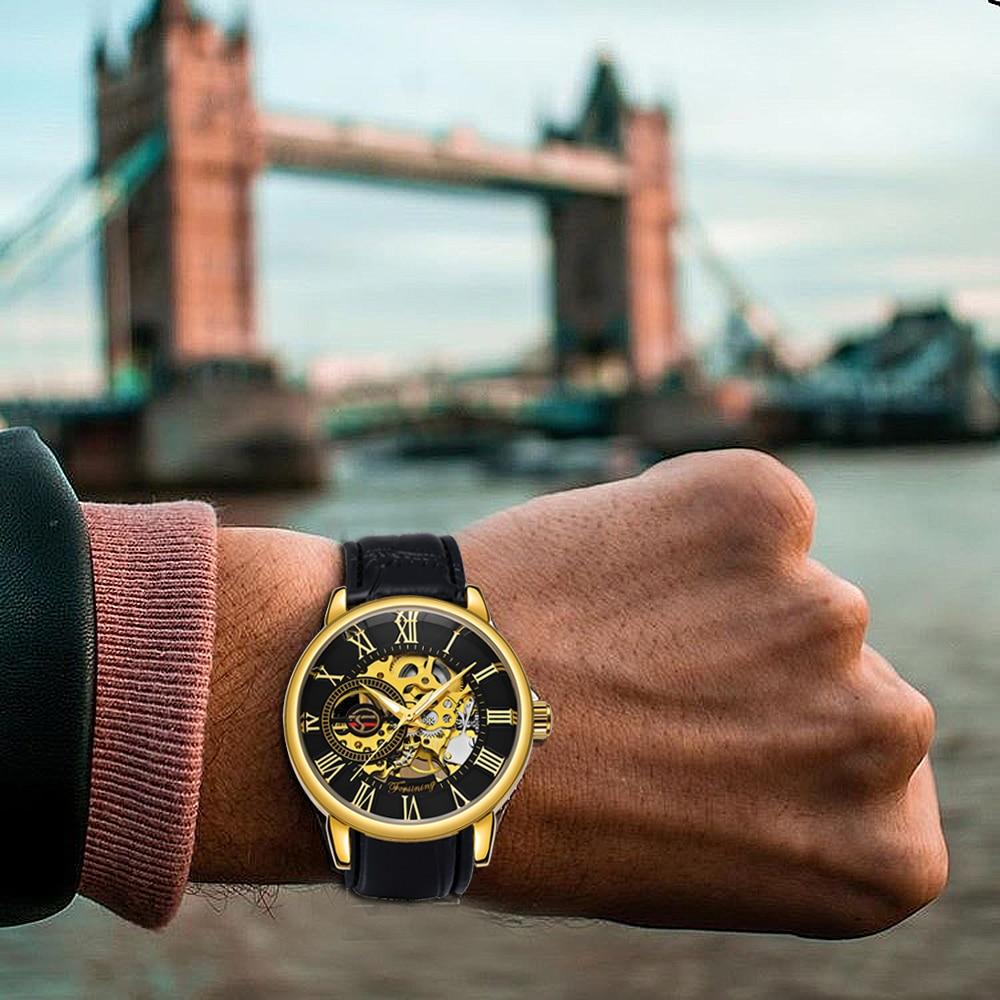 H92f199b27f4c42779f5d5f8746b3d1d3D 2019 FORSINING 3D Logo Black Gold Men Mechanical Watch Montre Homme Man Watches Top Brand Luxury Leather WINNER Skeleton Design
