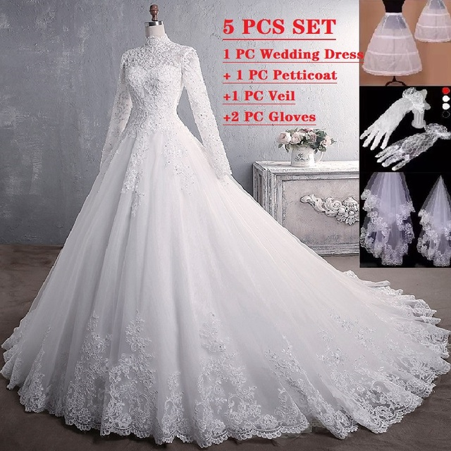 Elegant princess Bride WEDDING gown LONG SLEEVE PLUS SIZE lace up Celebrity Ball Gown Muslim wedding DRESS vestido De Noiva 1