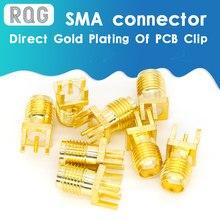 10pcs 1.6 milímetros Porca SMA Jack Fêmea Solda PCB Borda Clipe Reta Montagem Banhado A Ouro RF Receptáculo Conector de Solda