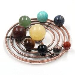 Reiki Healing 9 planetas Sistema Solar decoración de escritorio de hogar bola de cristal Natural figuritas de cobre hechas a mano adornos de pie
