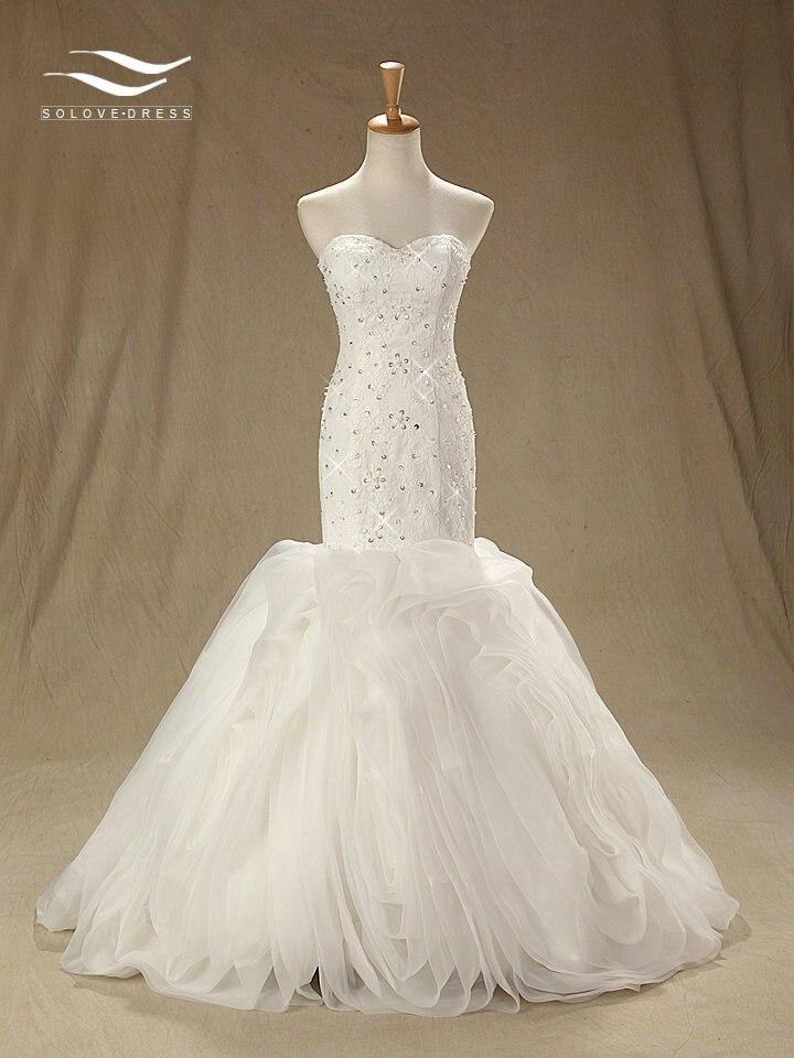 Sweetherat Floor-Length Mermaid Sleeveless Wedding Dress Court Train Lace Sequins  Bridal Gown Custom Made Real Photos (SL-W216)