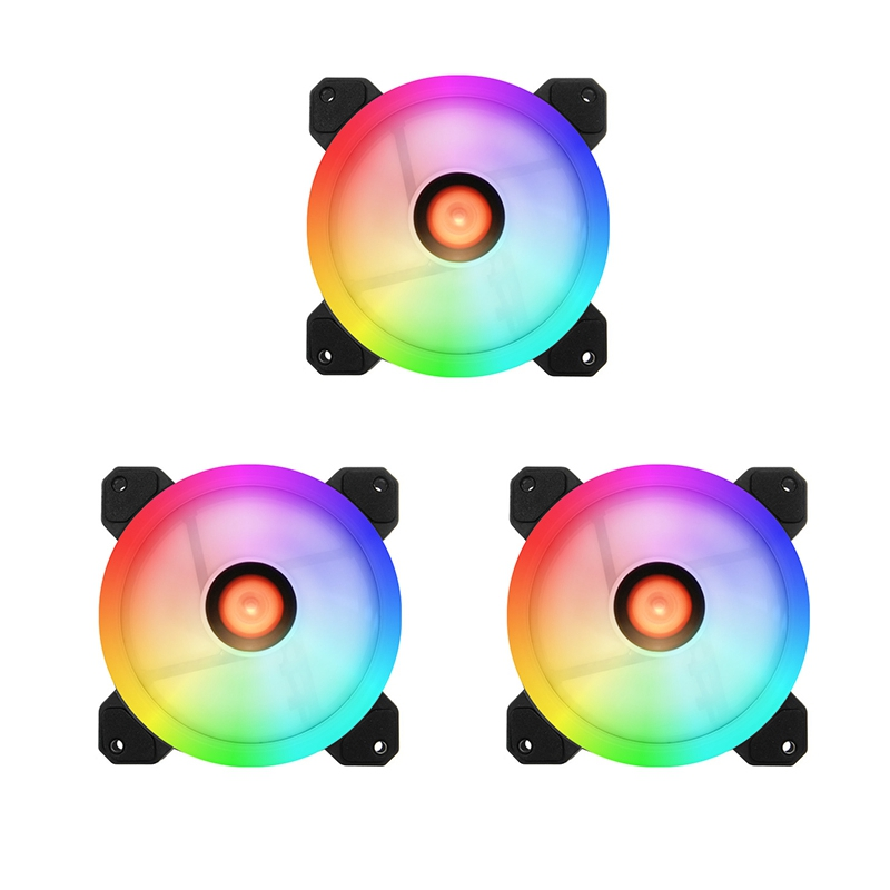 COOLMOON Computer Case PC Cooling Fan RGB Adjust LED 120mm Quiet High Quality Computer Cooling Fan Cooler For Cpu (3 Pcs)