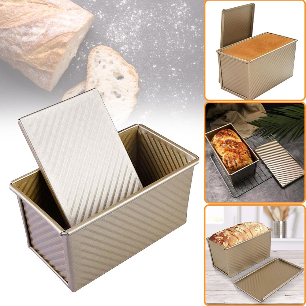 Rectangular Loaf Pan Carbon Steel Non-stick Bellows Cover Toast Box Mold Bread Mold Eco-Friendly Baking 20.8 * 11.8 * 11