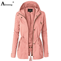 Single breasted Zipper 2019 Autumn Winter Women's Coat Solid Pink Drawstring Slim Hooded Split Female Windbreaker Long Jacket
