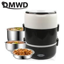 DMWD Мини электрическая рисоварка из нержавеющей стали 2/3 слоев Пароварка портативная еда тепловой Подогрев Ланч-бокс контейнер для еды подогреватель