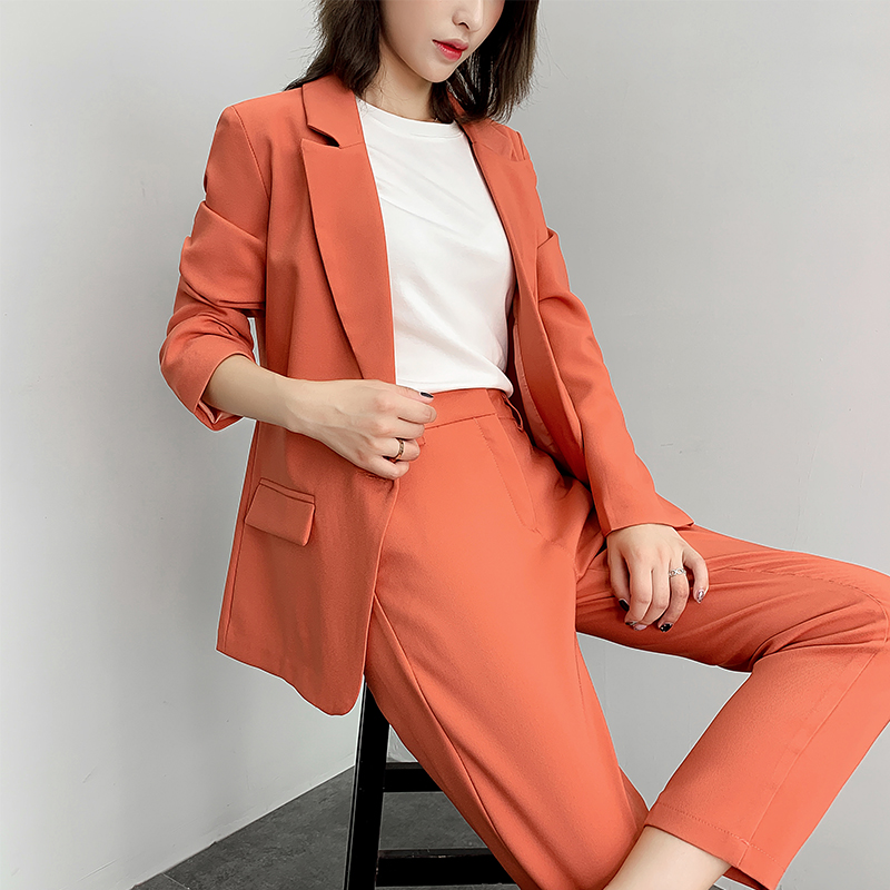 Women's Jacket Suit Female 2019 Autumn New Loose Thin Small Suit Straight Pants Two Sets Of Temperament Fashion Overalls Clothes