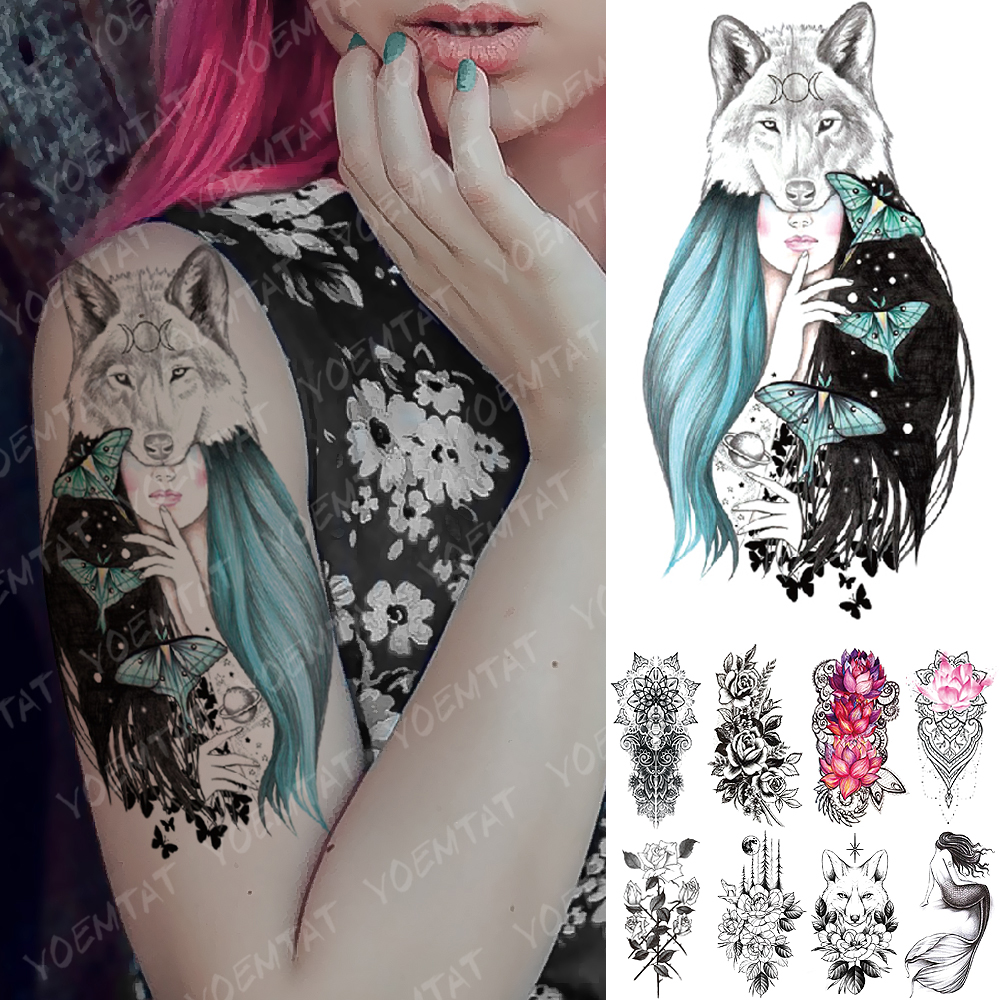 Waterproof Temporary Tattoo Sticker Pink Lotus Rose Lace Flowers Flash Tattoos Snake Dragon Body Art Arm Fake Tatoo Women Men
